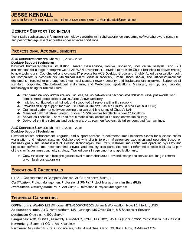 Desktop Support Technician Resume