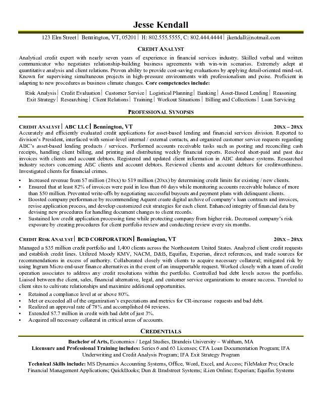 Credit Analyst Resume - professional synopsis for resume