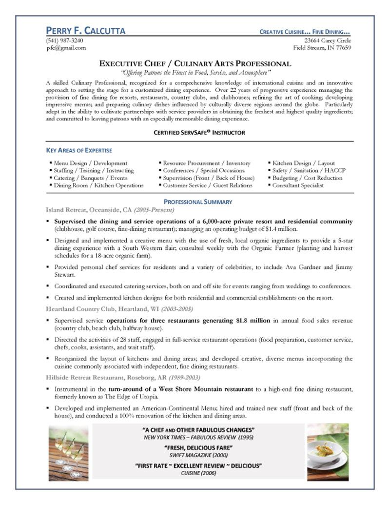 cover letter of chef resume