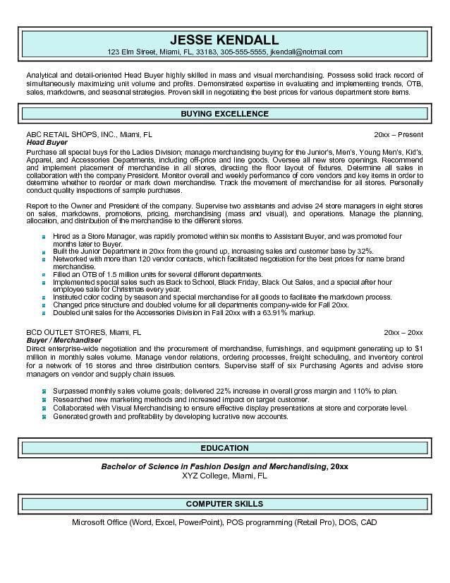 resume sample for procurement buyer