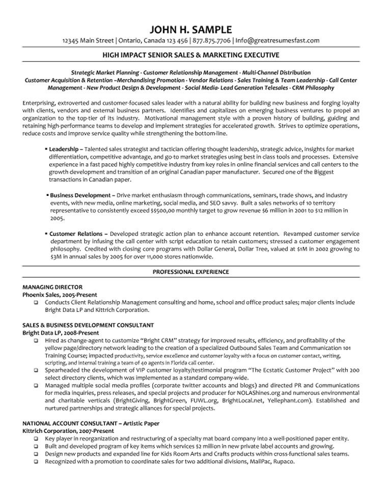 Executive Managing Director Resume - Business Development Representative Sample Resume