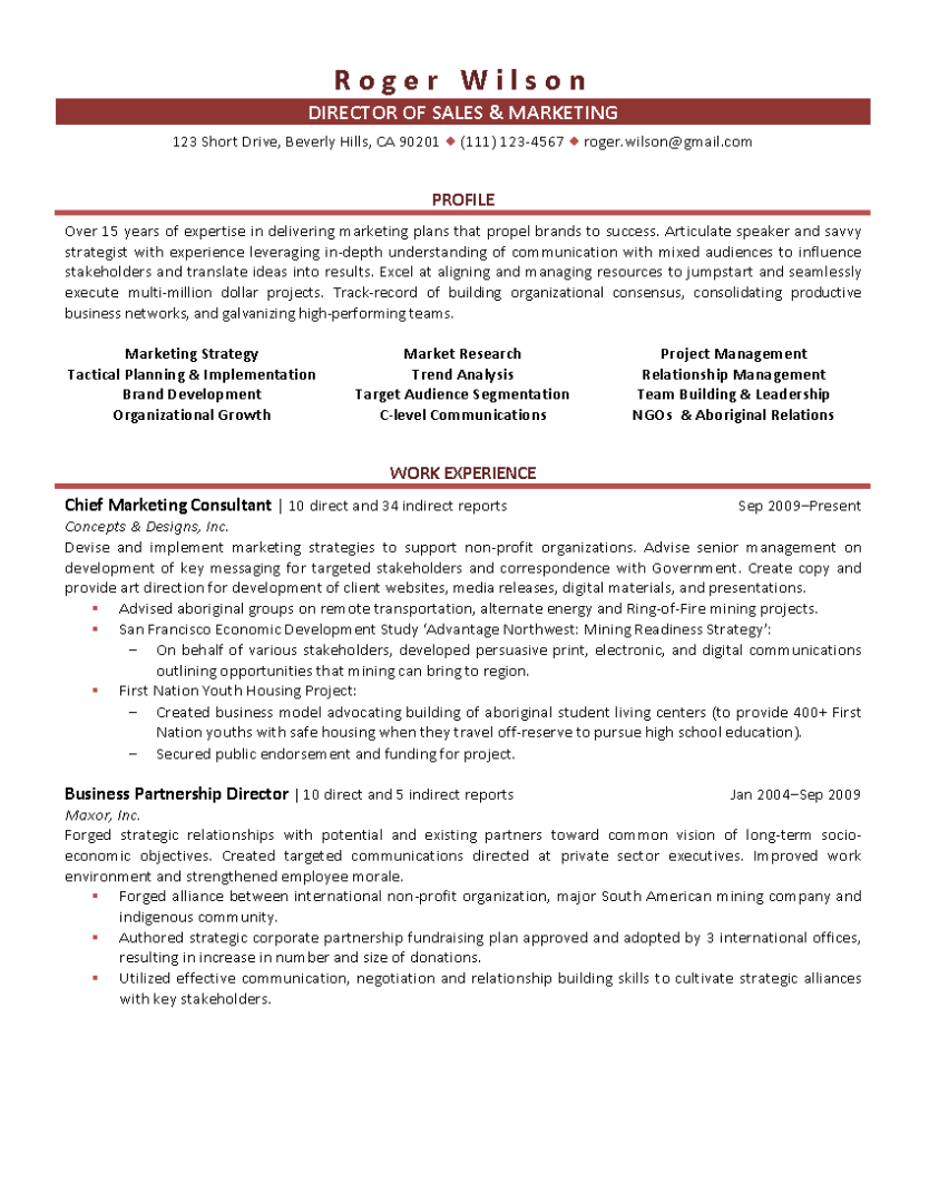 sample resume director of sales and marketing