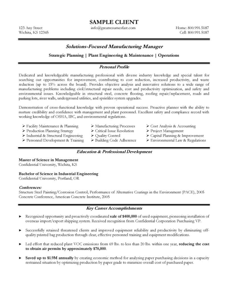sample resume for manufacturing operations manager resume sample resume for manufacturing operations manager manufacturing operations resume example resume templates entry level
