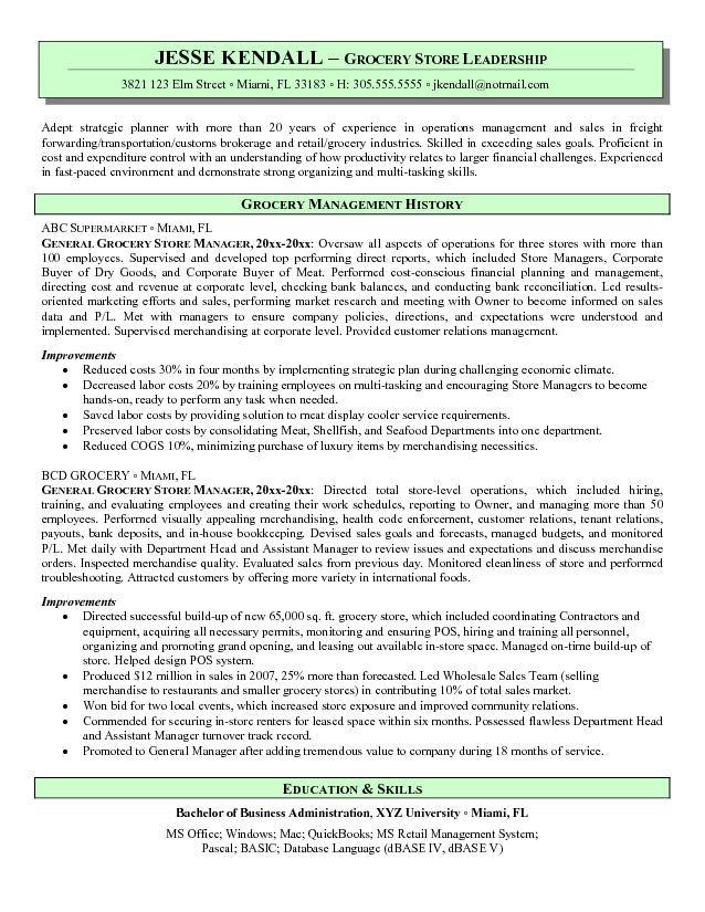 Grocery Store Manager Resume - Retail Store Manager Resume