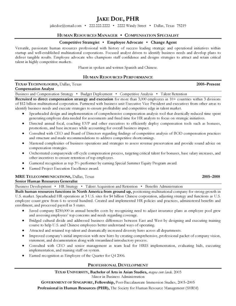 hr manager resume summary hr manager resume sample one hr resume human resources manager and compensation