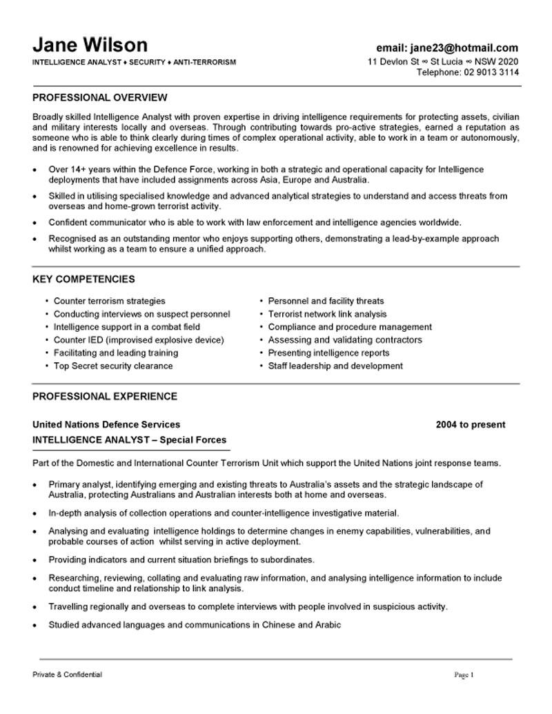 junior military officer resume example