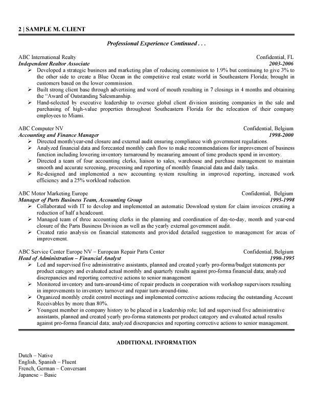 International Financial Analyst Resume - International Experience Resume