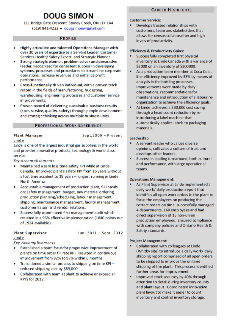 manager resume layout