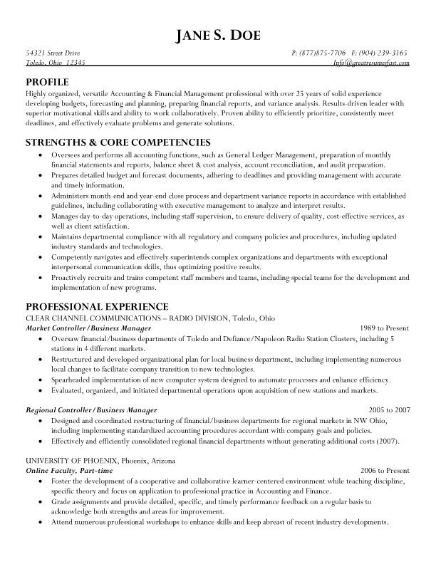 Market Controller  Business Manager Resume - finance manager resume sample