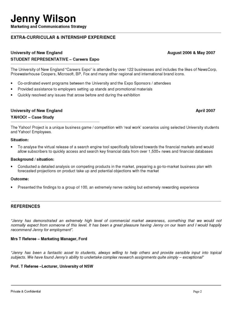 marketing communication resume examples