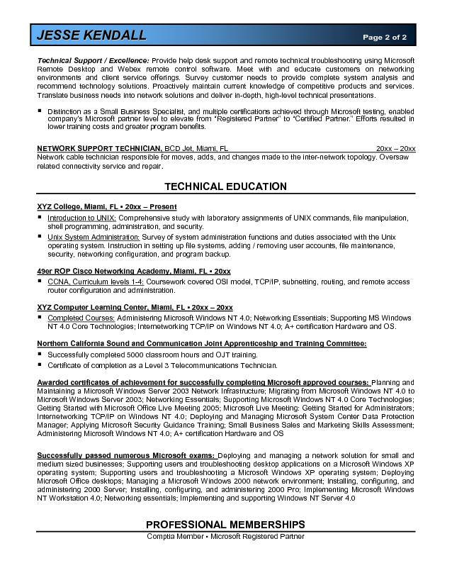 microsoft certified resume sample