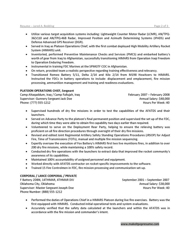 Army warrant officer resume examples