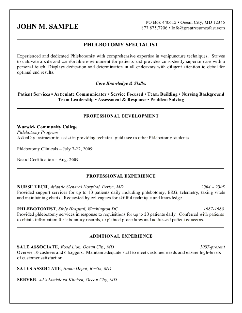sample resume for new phlebotomist