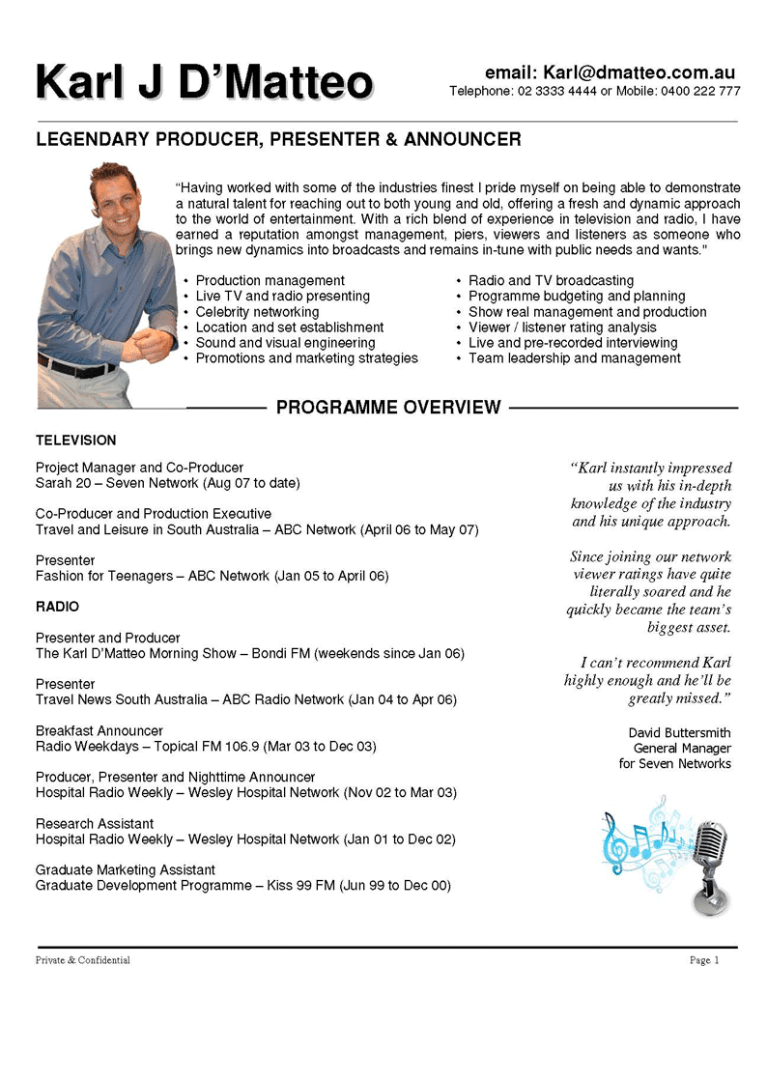 music video director resume examples