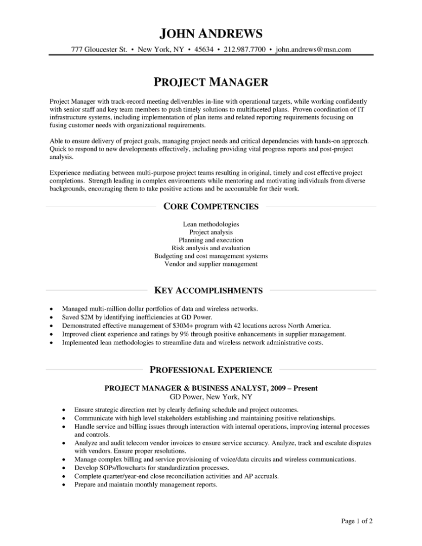 Project Manager Sample Resume – Mainframe Project Manager