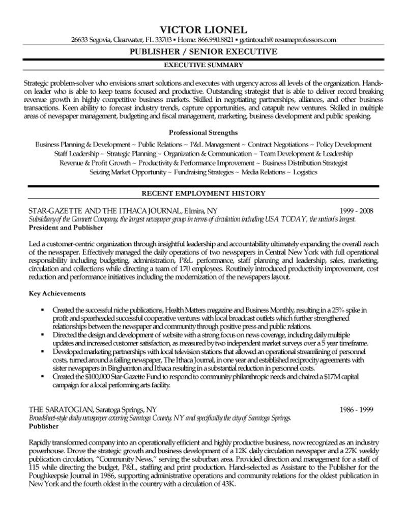 music publishing sample resume
