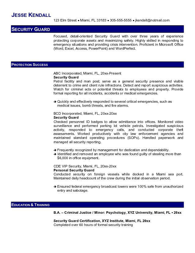 Guard Resume - criminal justice resume objective