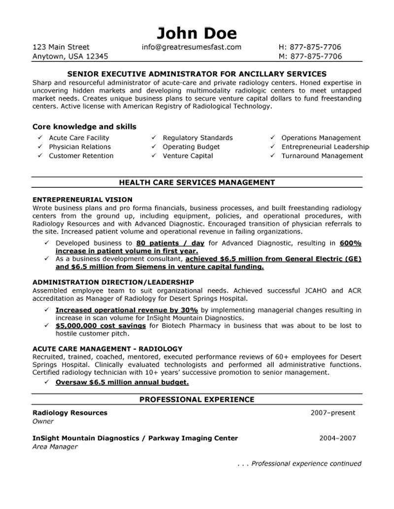 sample entry level healthcare administrator resume