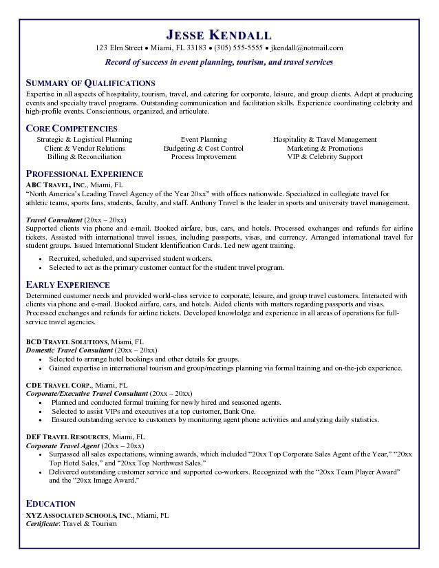 Travel Agent Resume - travel agent sample resume