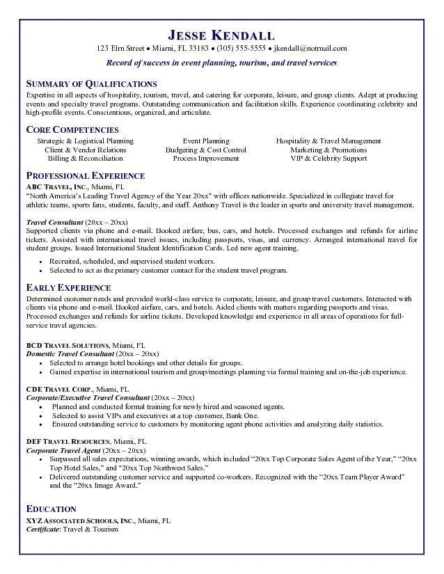 Travel Agent Resume - areas of expertise resume examples