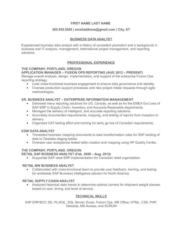 Business Data Analyst Resume - resume sample for business analyst