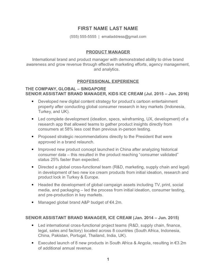 Product Manager Resume - product manager resumes