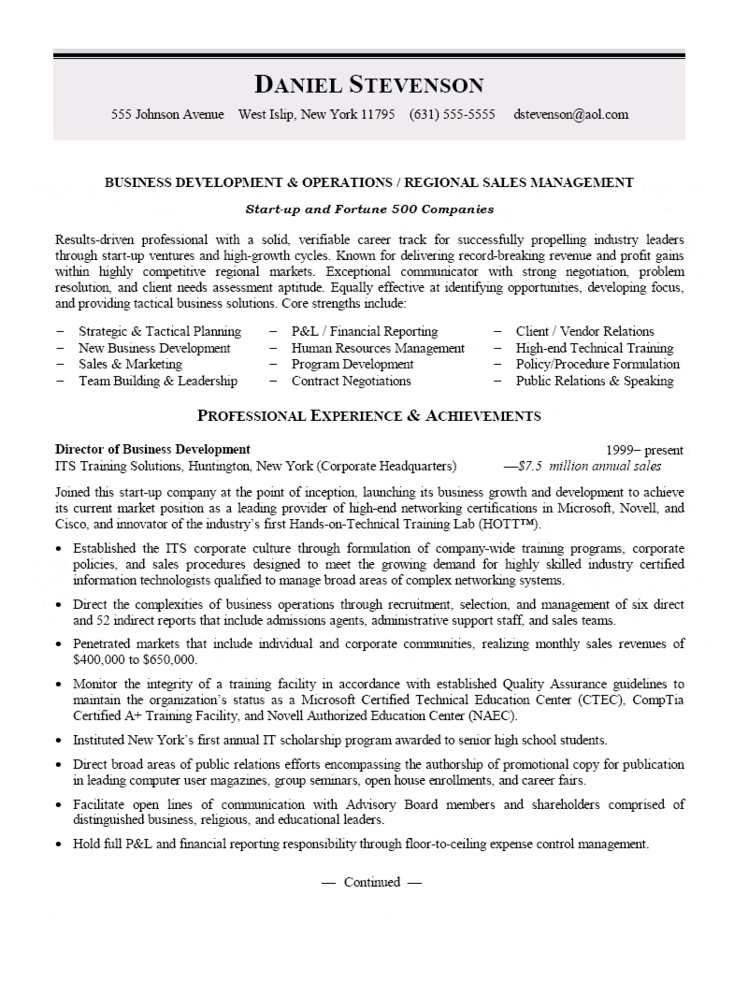 Business Development and Regional Sales Manager Resume - career development manager sample resume