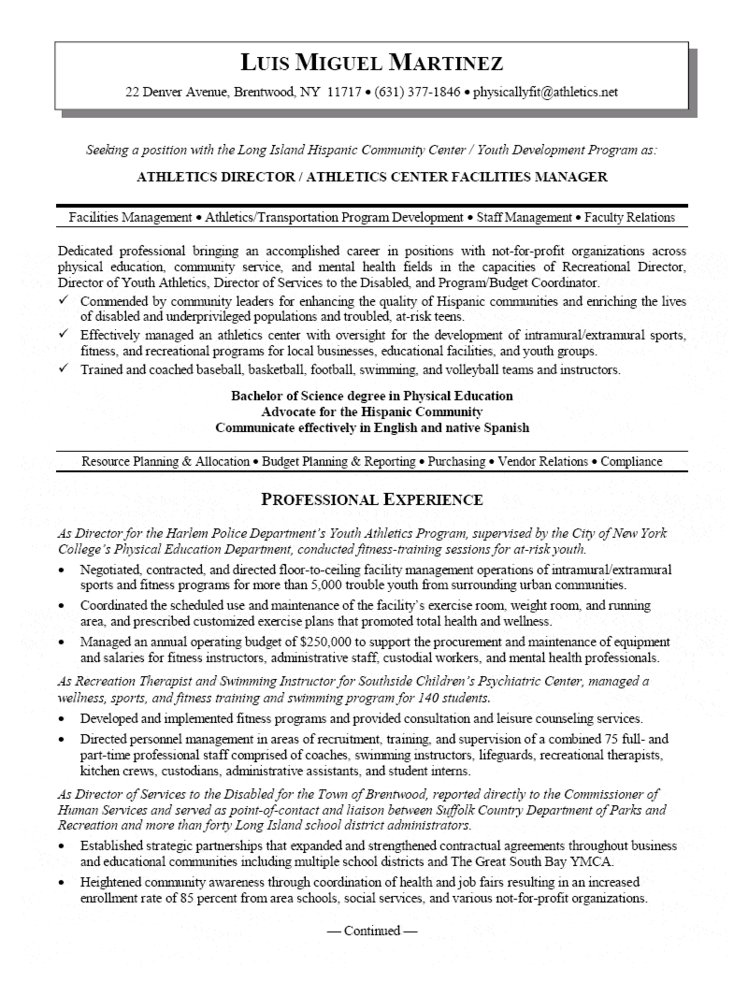Sports Resume Examples - Examples of Resumes