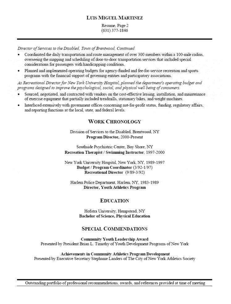 Athletic Director and Facility Manager Resume - program director resume