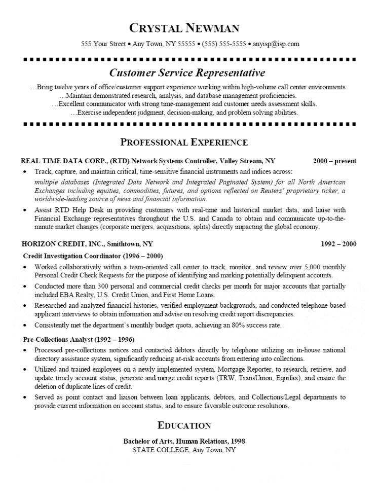 Customer Service Representative Resume - sample of a customer service resume