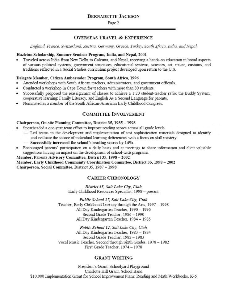 Early Childhood Specialist Resume