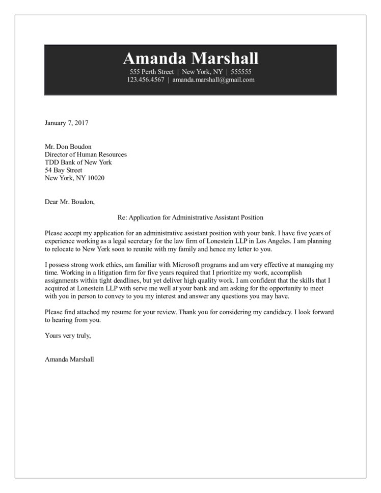 Administrative Assistant Cover Letter - Sample Administrative Assistant Cover Letter