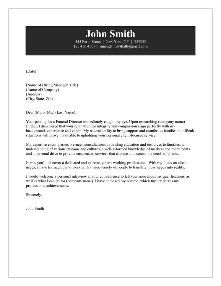 funeral director cover letters
