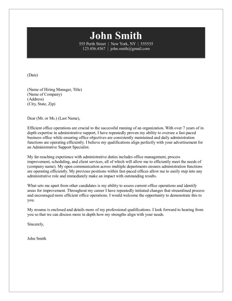 Administrative Support Cover Letter - does my resume need a cover letter