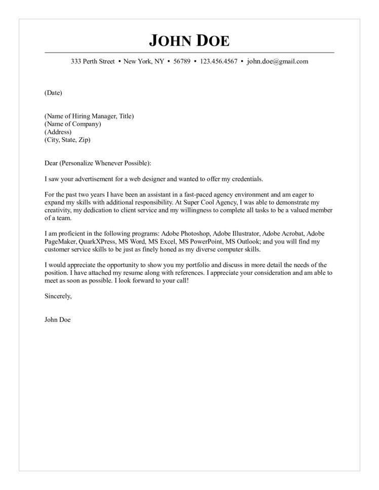 Web Designer Cover Letter - i have attached my resume