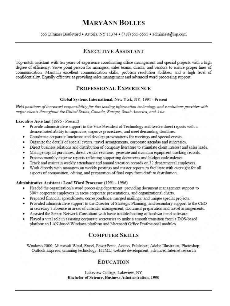 administrative assistant office resumes - Maggilocustdesign - Executive Assistant Resumes