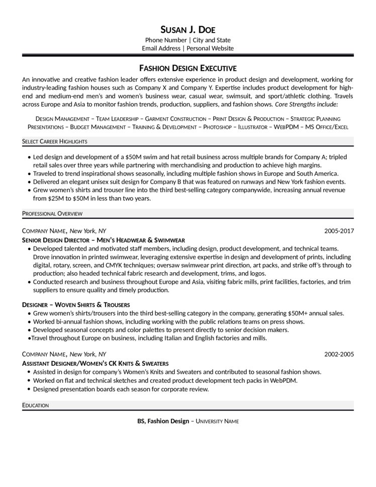 Fashion Executive Resume