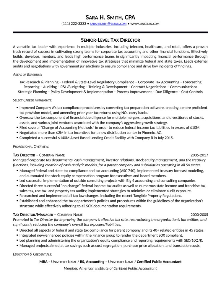 Tax Director Resume