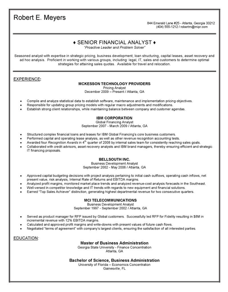 resume objective examples for analyst
