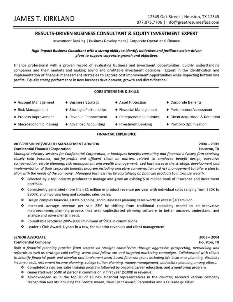 a perfect private equity or investment banking resume example
