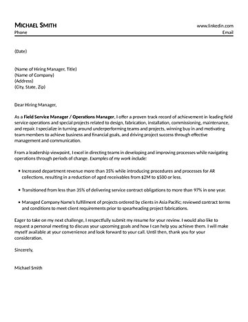 Field Service Manager Cover Letter - field service manager sample resume
