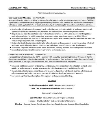 Corporate Credit Manager Resume