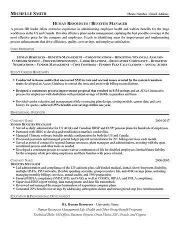 HR Benefits Manager Resume - pension specialist sample resume