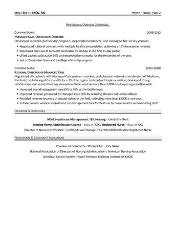Managed Care Executive Resume