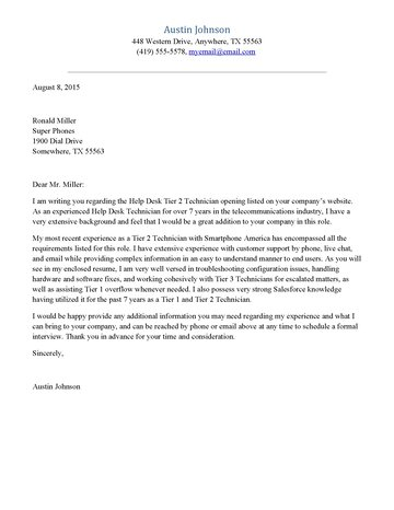 Help Desk Cover Letter - cover letter formatting