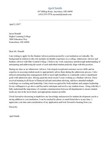 Student Advisor Cover Letter - what is in a cover letter