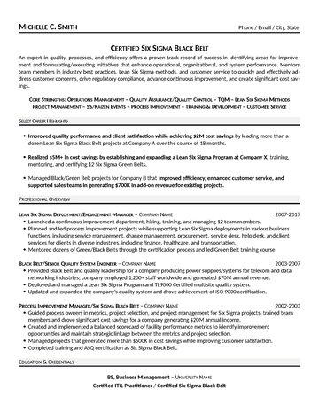 Certified Six Sigma Black Belt Resume