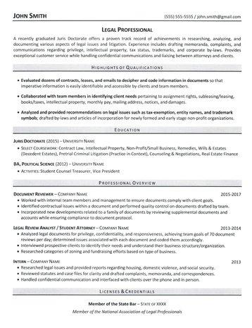JD Grad Resume