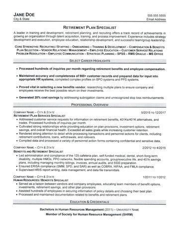 Retirement Plan Specialist Resume - retention specialist sample resume