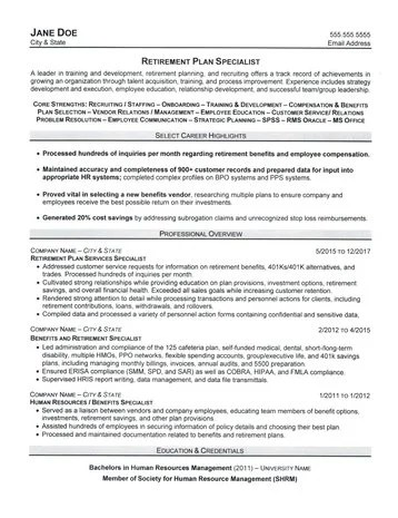 Retirement Plan Specialist Resume